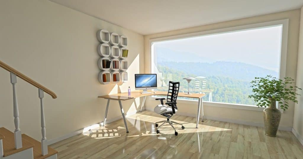 Home office with beautiful view
