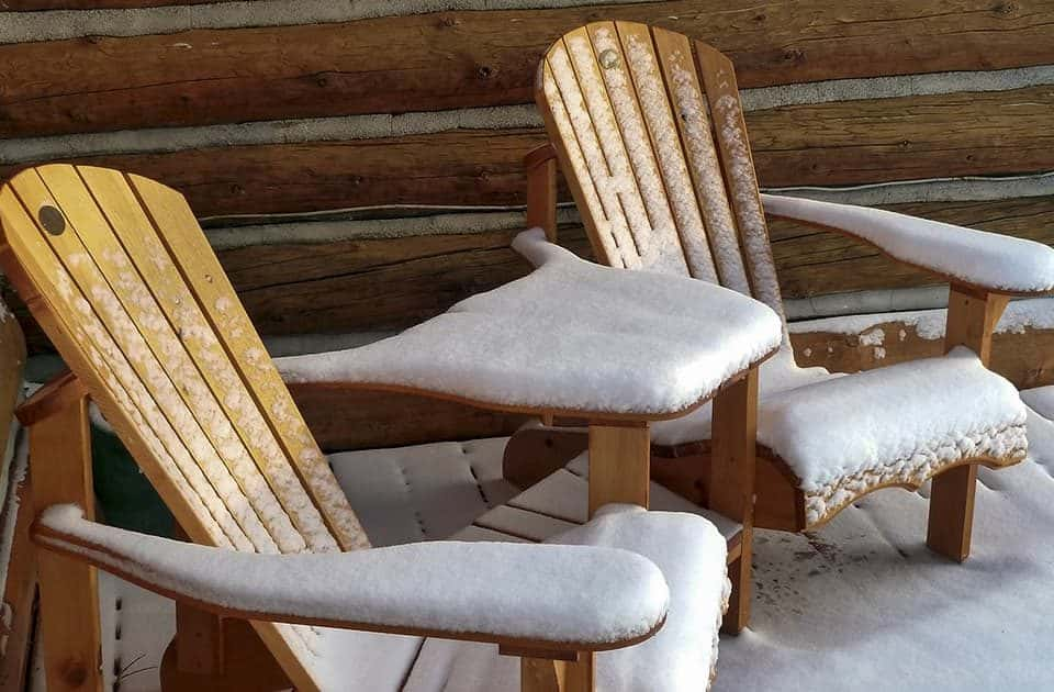 Garden furniture covered in snow