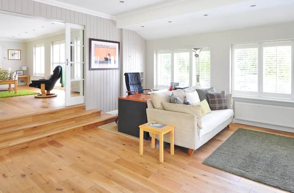 Living room with solid wood flooring